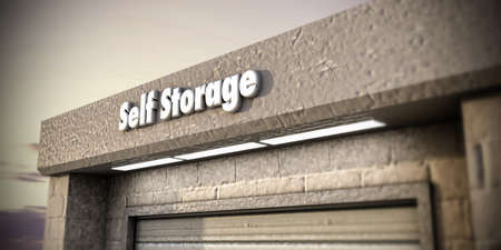storage unit: illustration of a self storage unit Stock Photo