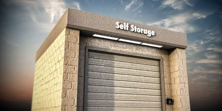 storage facility: illustration of a self storage unit Stock Photo