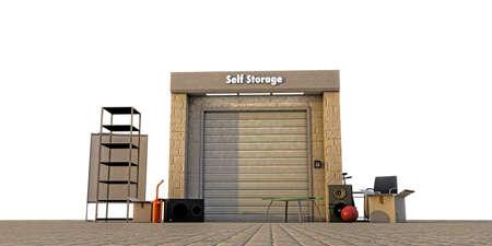 self storage: modern self storage isolated on white background