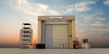 self storage: modern self storage with used stuff outside