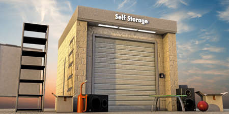 storage facility: modern self storage with used stuff outside
