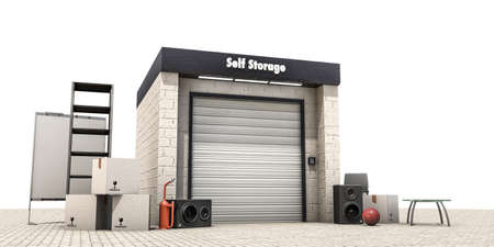 storage facility: self storage isolated on white background