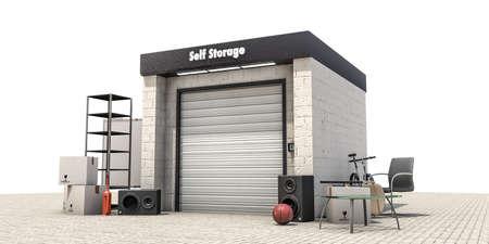 storage unit: self storage isolated on white background
