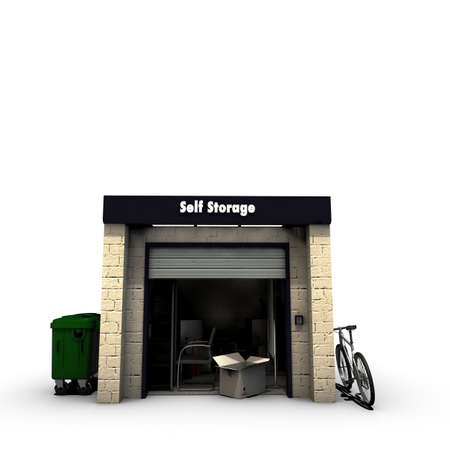 storage warehouse: self storage isolated on white background
