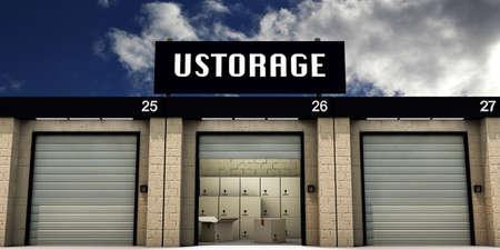 self storage: self storage witn many cardboard boxes inside Stock Photo