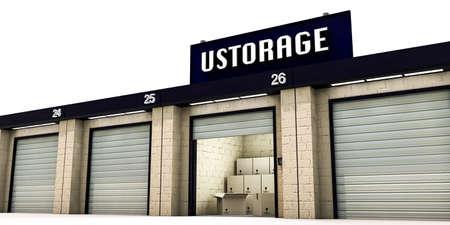 self storage: self storage with many cardboard boxes inside