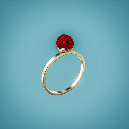 ring ruby: ring with ruby isolated on blue background