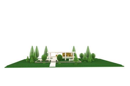 plastic bricks: modern house made of plastic bricks isolated on white background