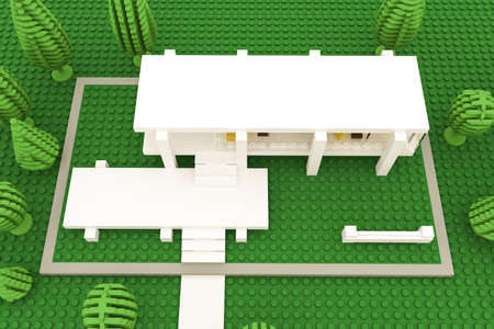plastic bricks: illustration of a modern house made of plastic bricks  Stock Photo