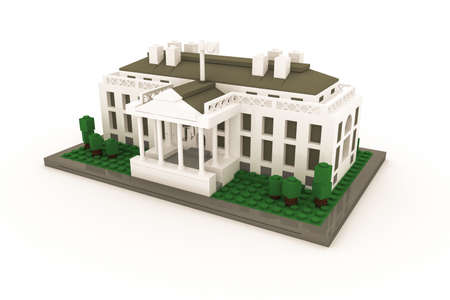 plastic bricks: White House made of plastic bricks isolated on white background Stock Photo