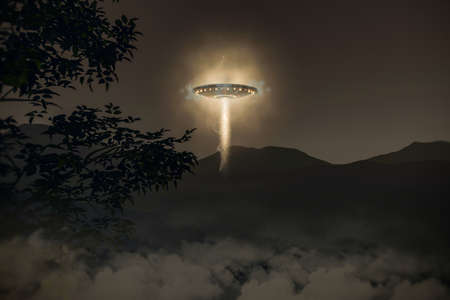 kidnap: ufo spaceship flying in the sky