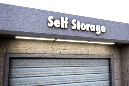 storage unit: self storage sign on concrete surface