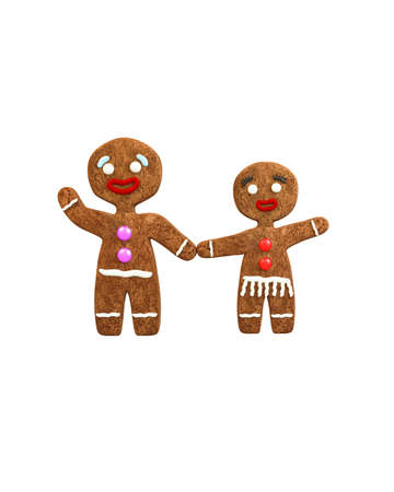 mister: mrs and mister gingerbread isolated on white background