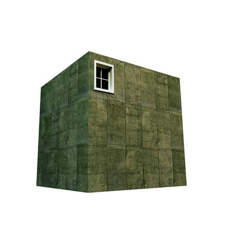 postmodern: concrete cubic house isolated on white background