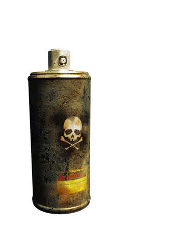 spray can: rusty spray can isolated on white background