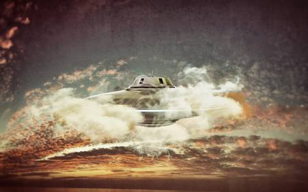 unidentified flying object isolated on sky background photo