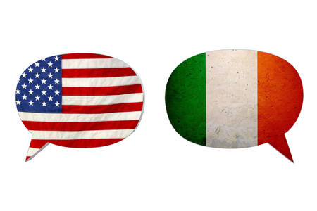 foreign country: america and italy flags isolated on white background
