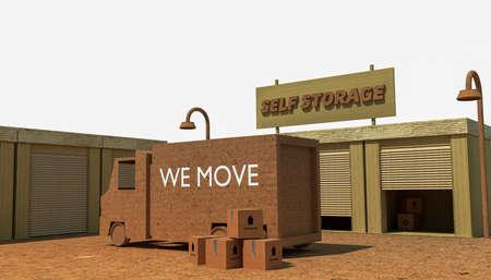 storage: self storage units isolated on white background