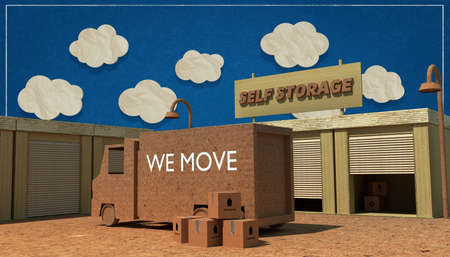 storage unit: self storage units made with cardboard boxes Stock Photo