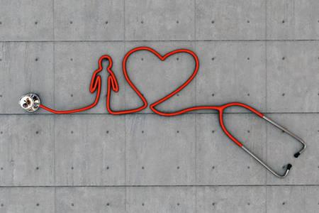 estetoscopio corazon: coraz�n estetoscopio en forma de suelo de hormig�n Foto de archivo