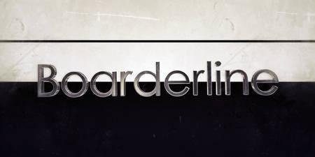 psyche: boarderline palabra sobre fondo blanco y negro Foto de archivo