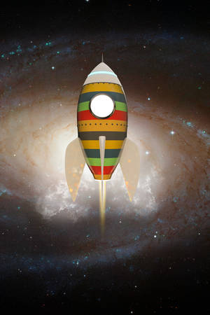 propulsion: space rocket flying in the space