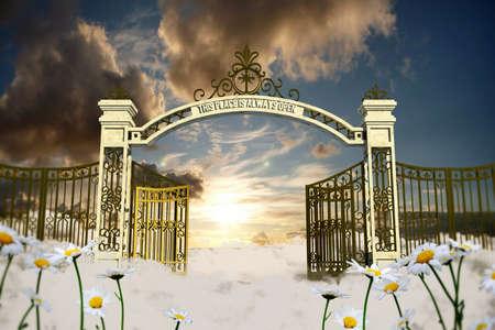 Cancello del cielo in una vecchia illustrazione Archivio Fotografico - 39155902