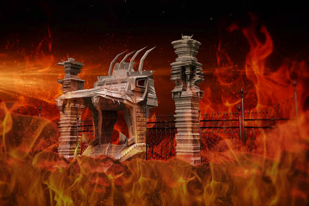 hell: Illustration of the hell gate Stock Photo