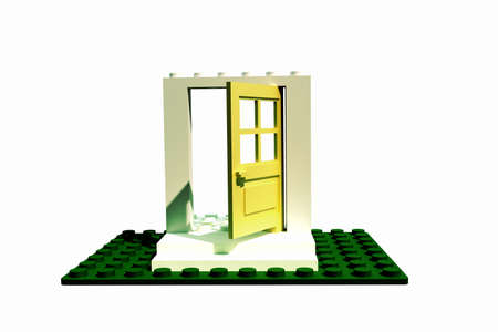 plastic bricks: toy door made with plastic bricks Stock Photo