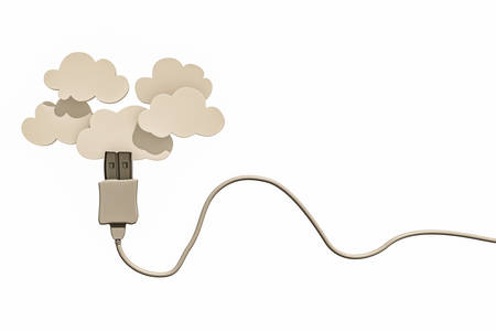 white usb cable connected with clouds photo