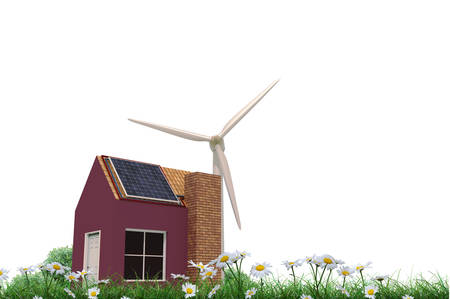 panels: house with solar panels and windmill at its back Stock Photo