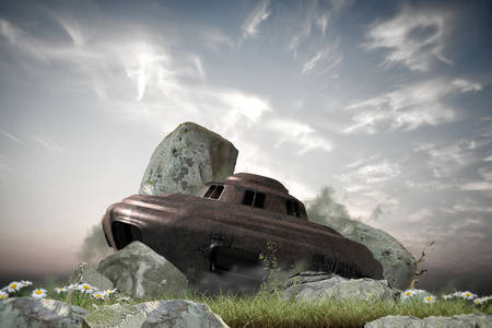 landed: wreakage of an old rusty ufo landed on earth