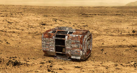 martian: rusty space capsule on martian land Stock Photo