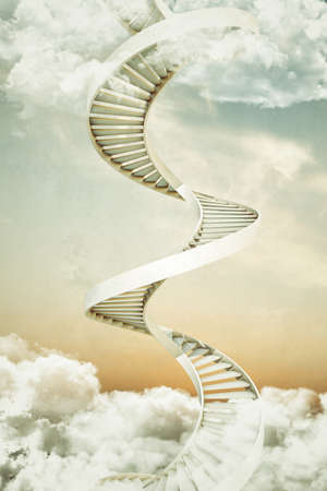 staircases: spiral staircases up in a cloudy sky Stock Photo