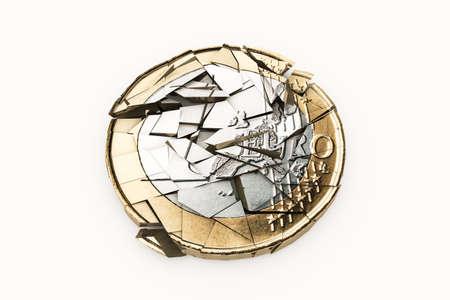 credit risk: cracked euro isolated on white background