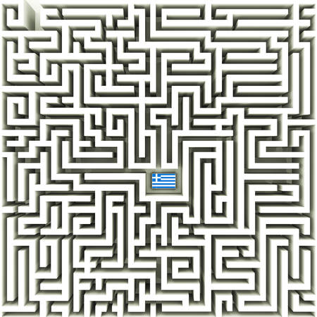 complex: Greek flag in a complex maze