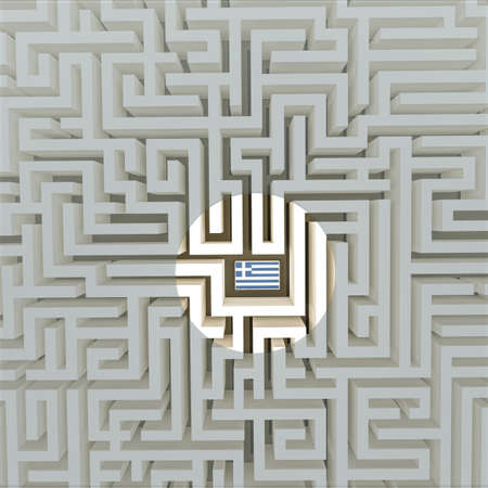 bce: Greek flag in a maze Stock Photo