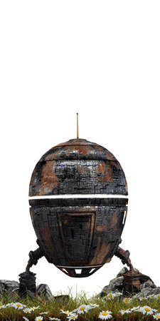 rusty: old rusty space capsule isolated on white background