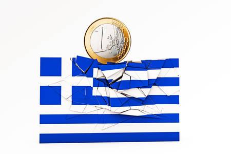 bce: greek flag crashed under euro weight Stock Photo