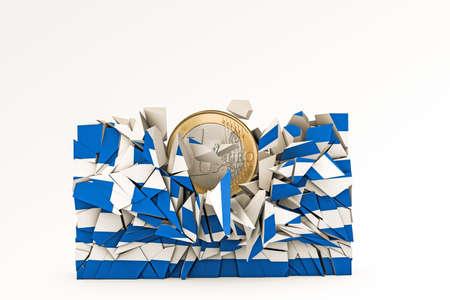 crashed: greek flag crashed under euro weight Stock Photo
