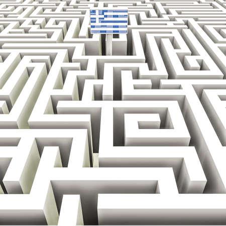 complex: Greek flag in a complex maze