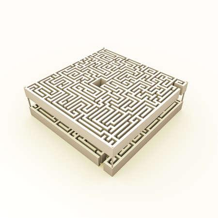 multi level: compex maze isolated on white background Stock Photo