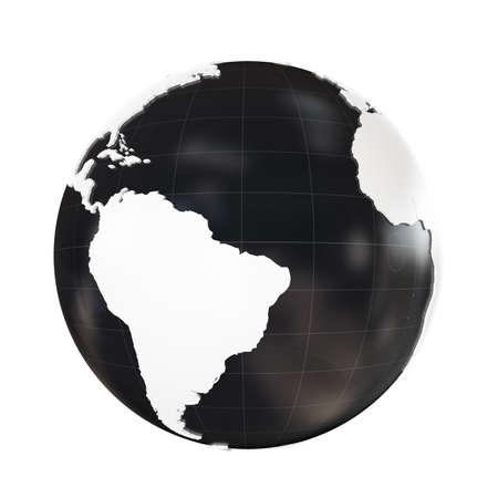 extruded: Globo 3D geopolitica estruso isolato su sfondo bianco Archivio Fotografico