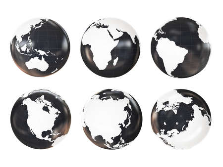 extruded: Globe 3D Geopolitical Extruded isolated on white background Stock Photo