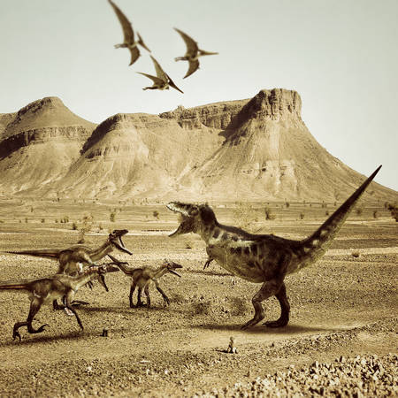 gigantic: T-rex versus raptors fighting in the desert