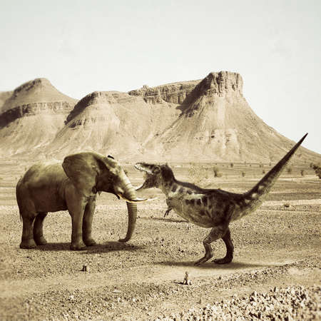 versus: T-rex fighting versus a big elephant in the desert