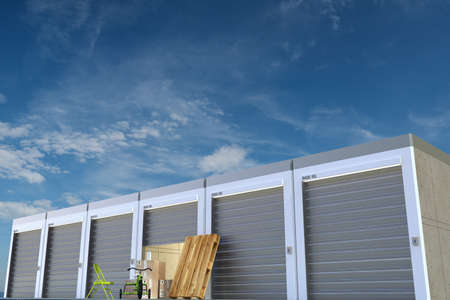storage facility: storage units on sky  Stock Photo