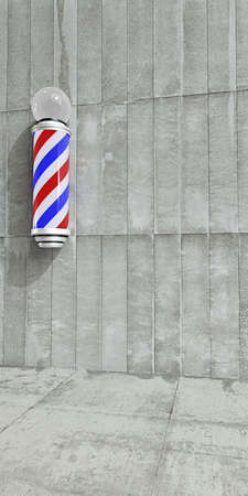 barber: barber pole on concrete wall