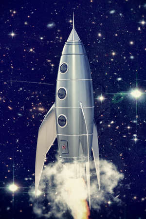 vintage: space rocket retro style take off in the space