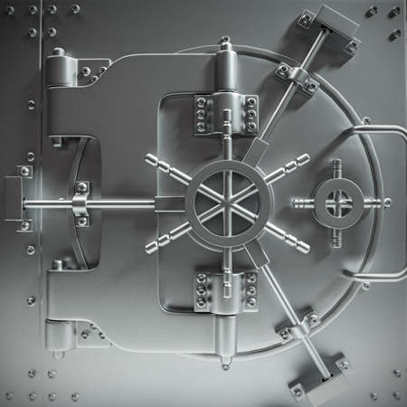 metal door: massive bank vault door closed